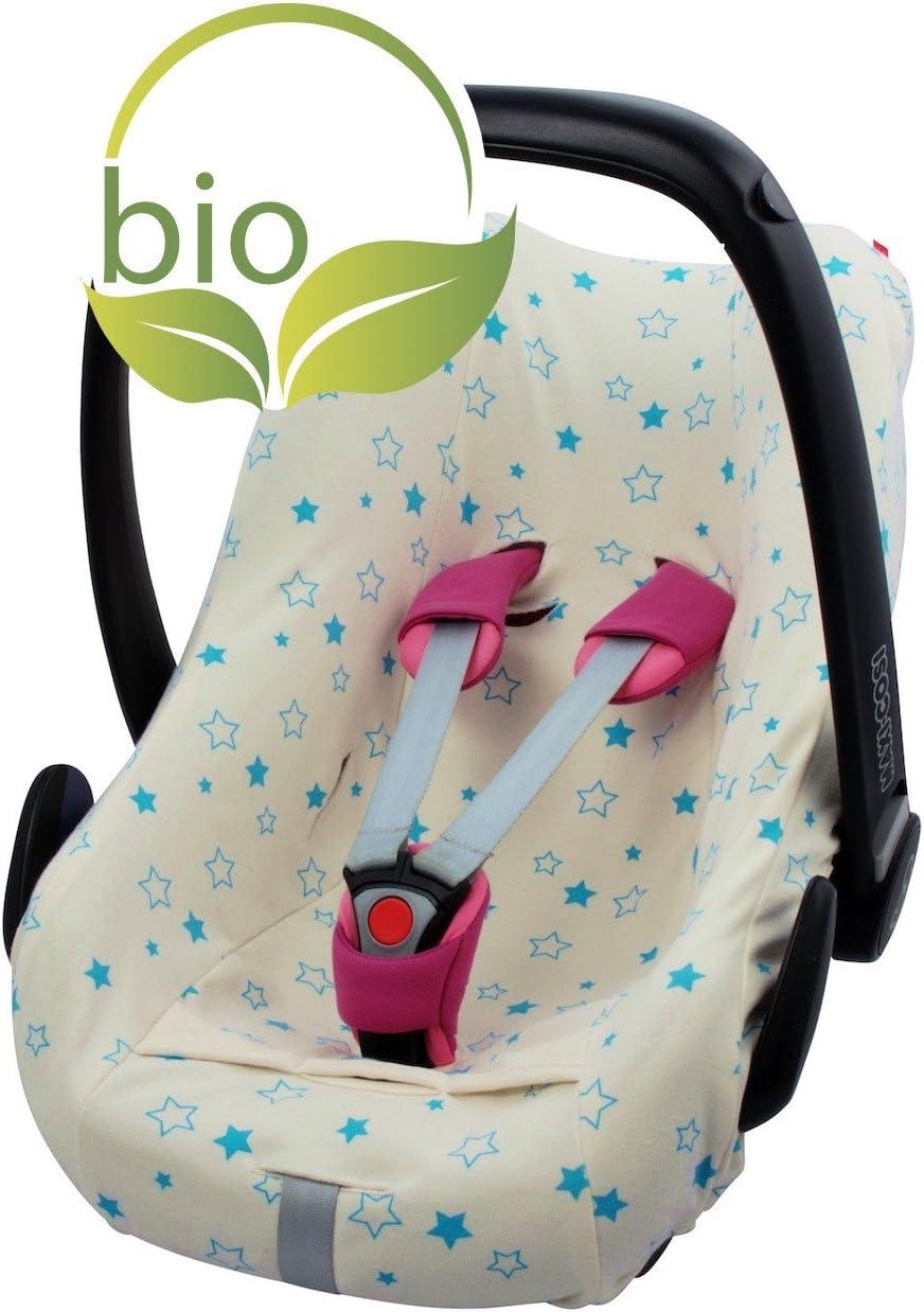 ByBoom® - Funda de verano/funda hecha de 100% algodón orgánico, funda universal para portabebés (Moisés), asiento de coche, por ejemplo, Maxi-Cosi, Color:Natural - Estrellas Aqua: Amazon.es: Bebé