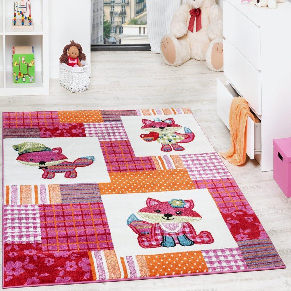 Paco Home Alfombra para Habitación Infantil con Motivo De Zorros Colorida En Rosa Crema, tamaño:120x170 cm