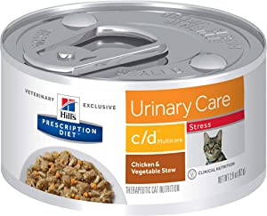 Hill's Prescription Diet c/d Multicare Stress Urinary Care Chicken & Vegetable Stew Canned Cat Food, 2.9 oz, 24-pack wet food