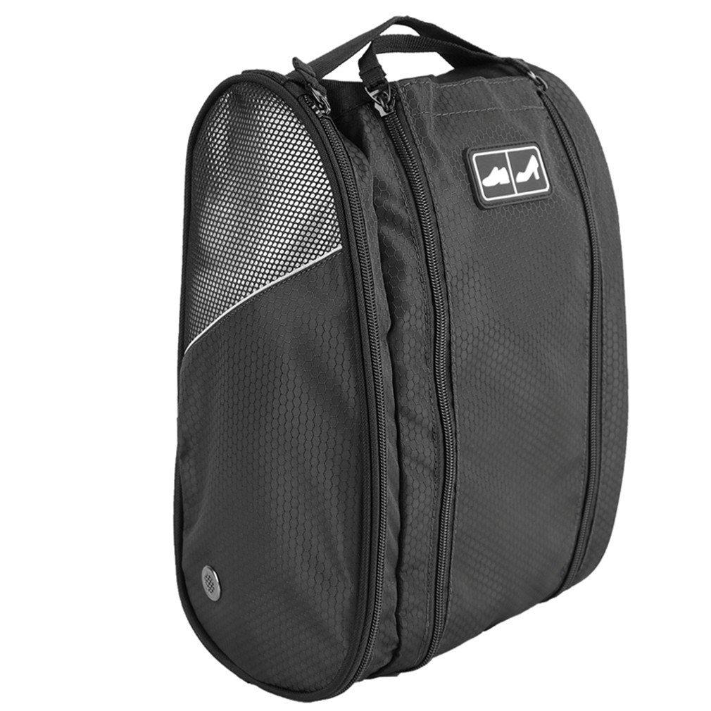 Golf Shoe Bag Travel Sport Gym Yoqa Sock Organizer Odor Resistant Large Zipper Space Shoe's Bag for Men and Women (Black)