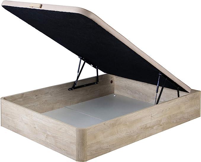 marckonfort Canapé abatible 150X190 de Gran Capacidad con Esquinas Redondeadas en Madera, Base tapizada 3D Transpirable Color Roble