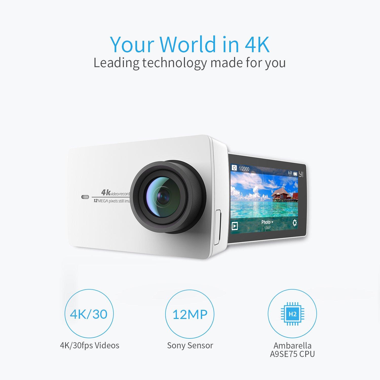 Cámara de acción de YI, 4K / 30 fps, grabación de vídeo 12 MP, con ángulo Amplio de 155 °
