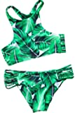 CUPSHE Women's Tropical Leaves Printing Tank Padding Bikini Set