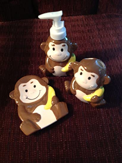 Childrenu0027s Monkey Bathroom Decor Accessory Set   3 Piece Bundle Includes:  Monkey Themed Lotion Dispenser