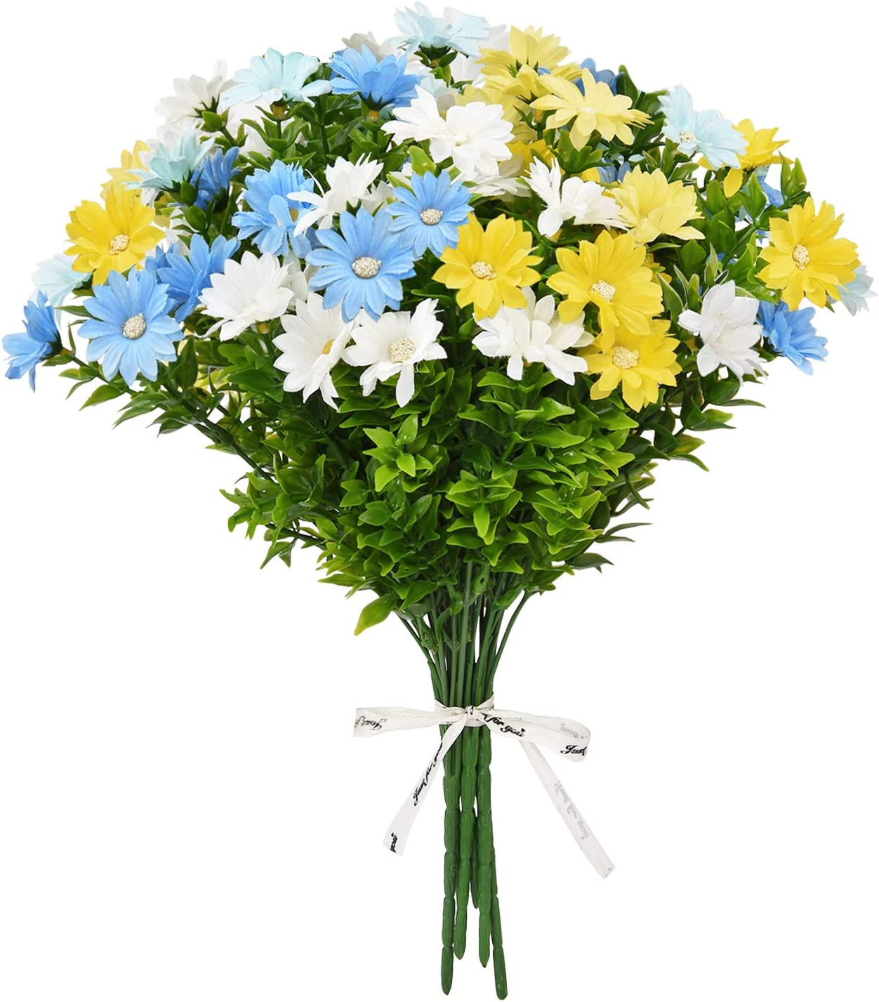 Shiny Flower 6 Pcs Artificial Flowers Silk Daisy Artificial Daisy Flowers Fake Colorful Daisy Plant Bouquet for Home Garden Porch Table Centerpieces Wedding Decor, Yellow, Blue, White