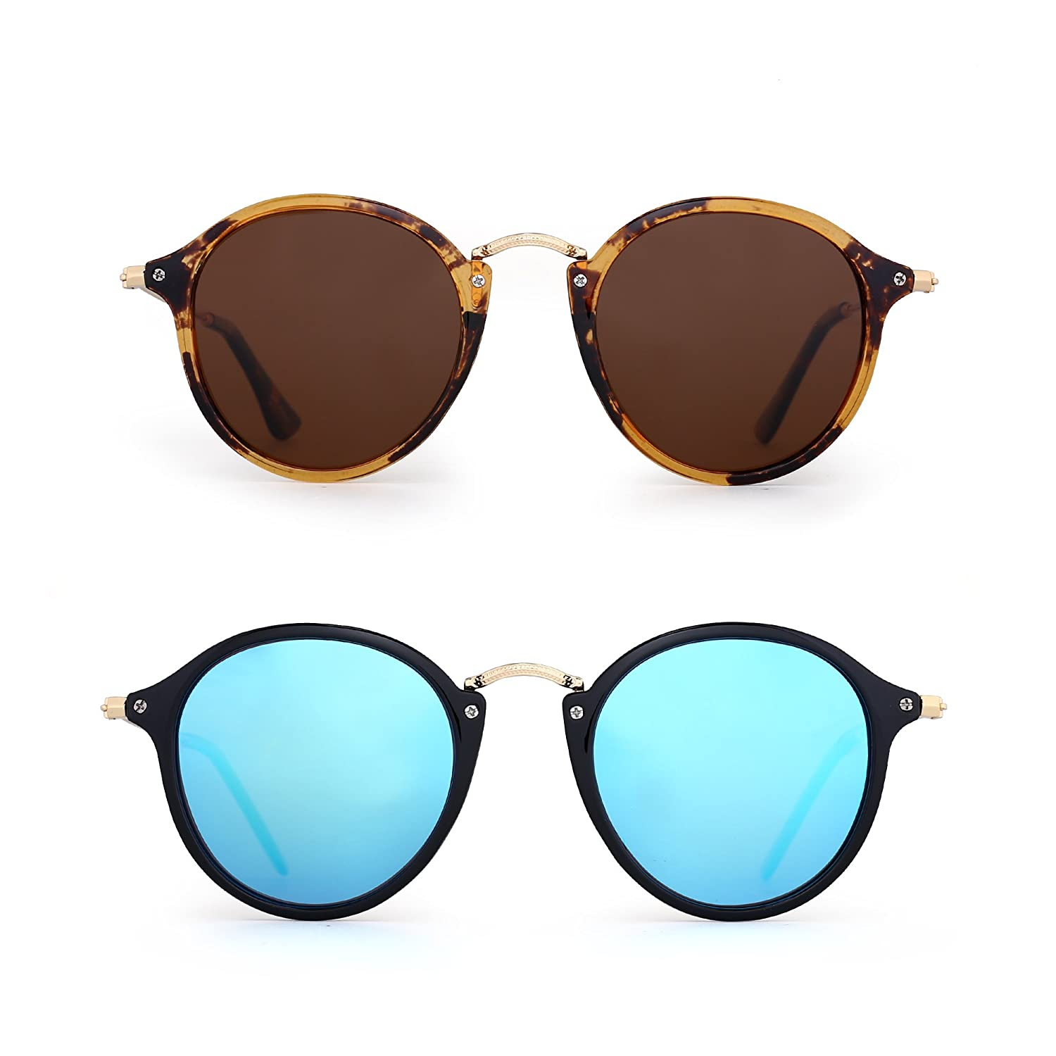 9c20a254ee0 Amazon.com  JIM HALO Retro Polarized Round Sunglasses for Women Vintage  Small Mirror Glasses 2 Pack (Brown   Blue)  Clothing