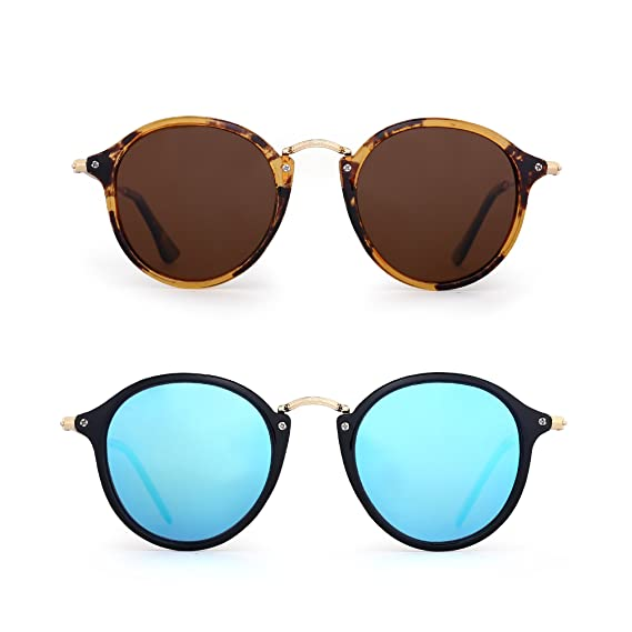 4368ed4c89a Retro Polarized Round Sunglasses Small Mirror Tinted Circle Lens Men Women  2 Pack (Brown