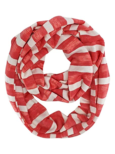 1f99bcdeb4bf2 Coral Pink & White Striped Light Infinity Scarf at Amazon Women's Clothing  store: Fashion Scarves