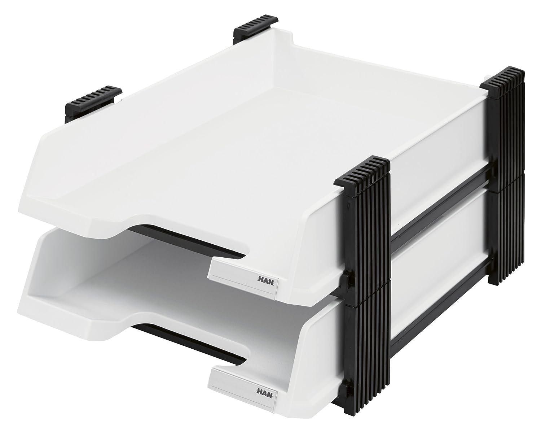 HAN Briefablagen Set DUETT 10320-13 in Schwarz / 2 hochwertige, ausziehbare Papierablagen im stabilen Stapelgestell/Für Briefe & Papiere bis Format A4–C4 HAN Bürogeräte