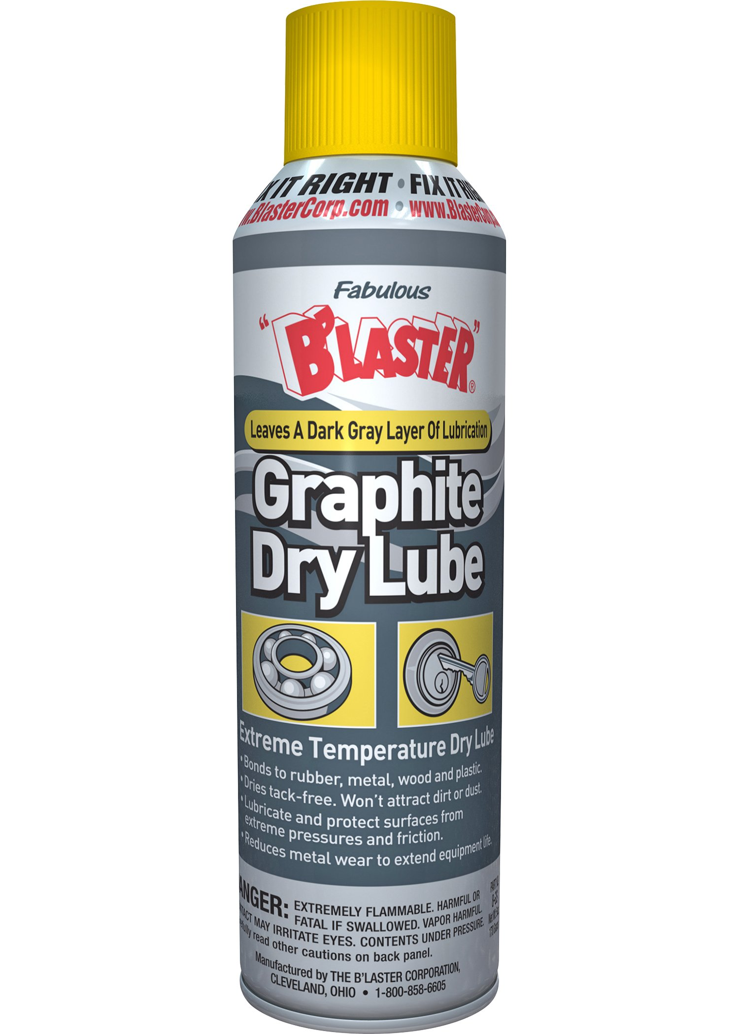 B'laster 8-GS-12PK Industrial Graphite Dry Lubricant - 5.5-Ounces - Case of 12 by B'laster