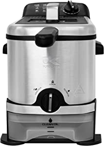 Kalorik 3.2 Quart Deep Fryer with Oil Filtration, Stainless Steel