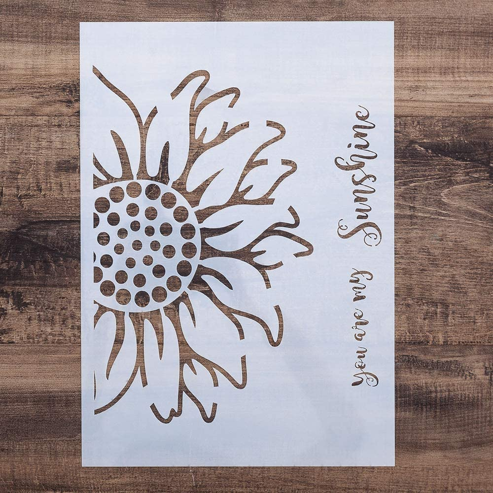 DIY Painting Drawing Stencils Template for DIY Painting on Furniture Wood Wall Art Projects, Reusable (Sunflower, A2 Size)