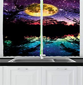 Ambesonne Purple Kitchen Curtains, Lake Moonlight Stars in Night Sky with Trees Contemporary Modern Design, Window Drapes 2 Panel Set for Kitchen Cafe Decor, 55