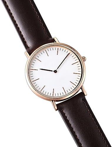 8251a4866037 Kuke hombre minimalista reloj de pulsera acero inoxidable cuarzo muñeca  clásico Casual Business analógico reloj con 40 mm Caso y banda de piel  color marrón ...