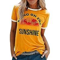 Voqeen Camiseta con Estampado de Arcoiris para Mujer, Manga Corta, Cuello Redondo, algodón, Camiseta Holgada, Camisetas…