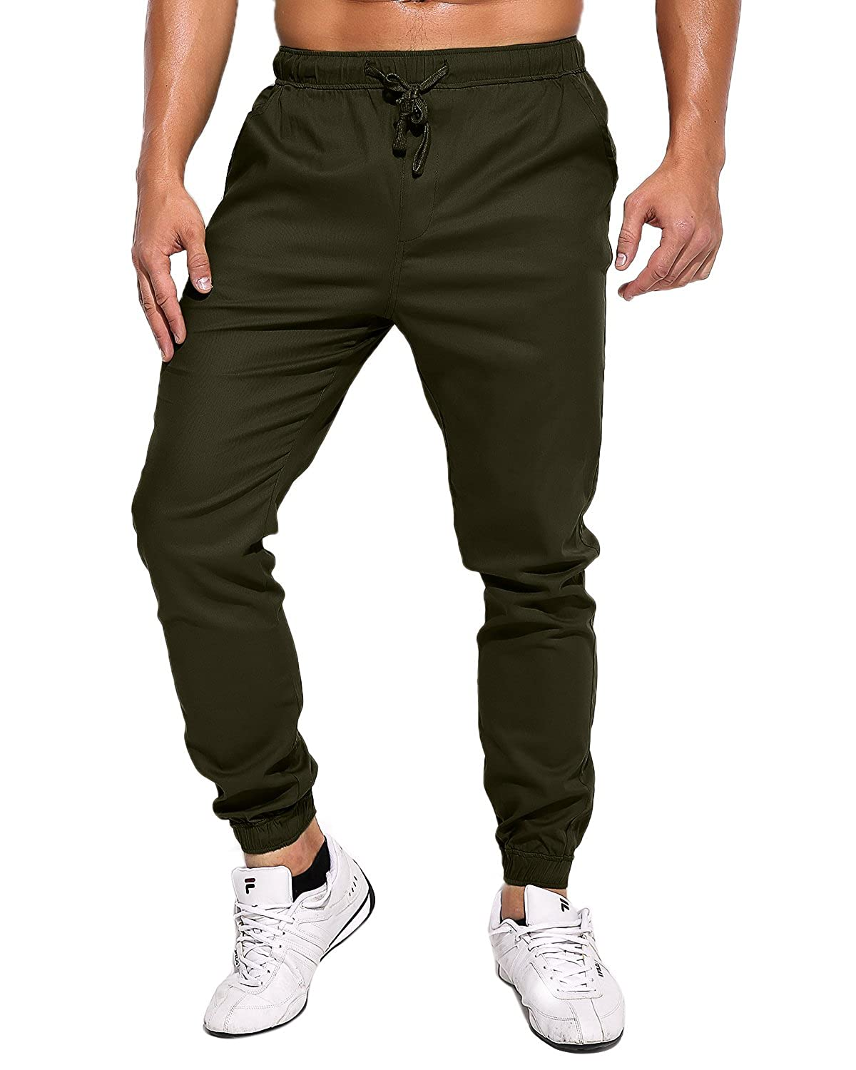 73141bfaa MODCHOK Men's Chino Jogger Pants Casusal Workout Trousers Slim Fit  Sweatpants at Amazon Men's Clothing store: