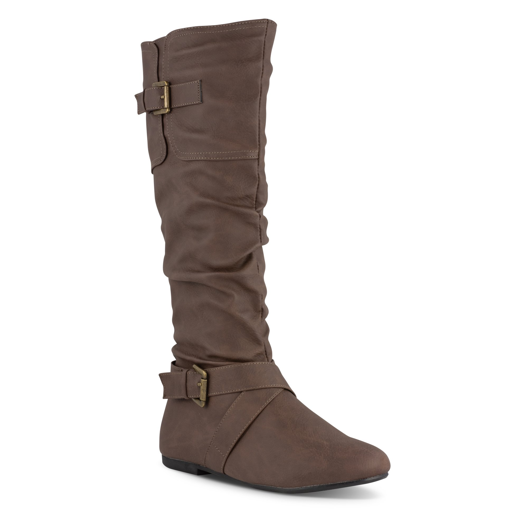 Twisted Women's Faux Leather Slouchy Buckle Strap Mid Calf Boots - VAN0109 Brown, Size 11