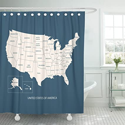 Us Map Shower Curtain Amazon.com: Emvency Shower Curtain Map Name of Countries United