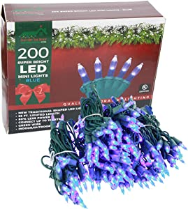 Super Bright LED Home Wedding Christmas Garden Party Decorative String Lights Set - Blue - 200-Piece - 54 ft Lighted Length, Connect up to 15 Sets - Indoor / Outdoor Seasonal Mini Pack