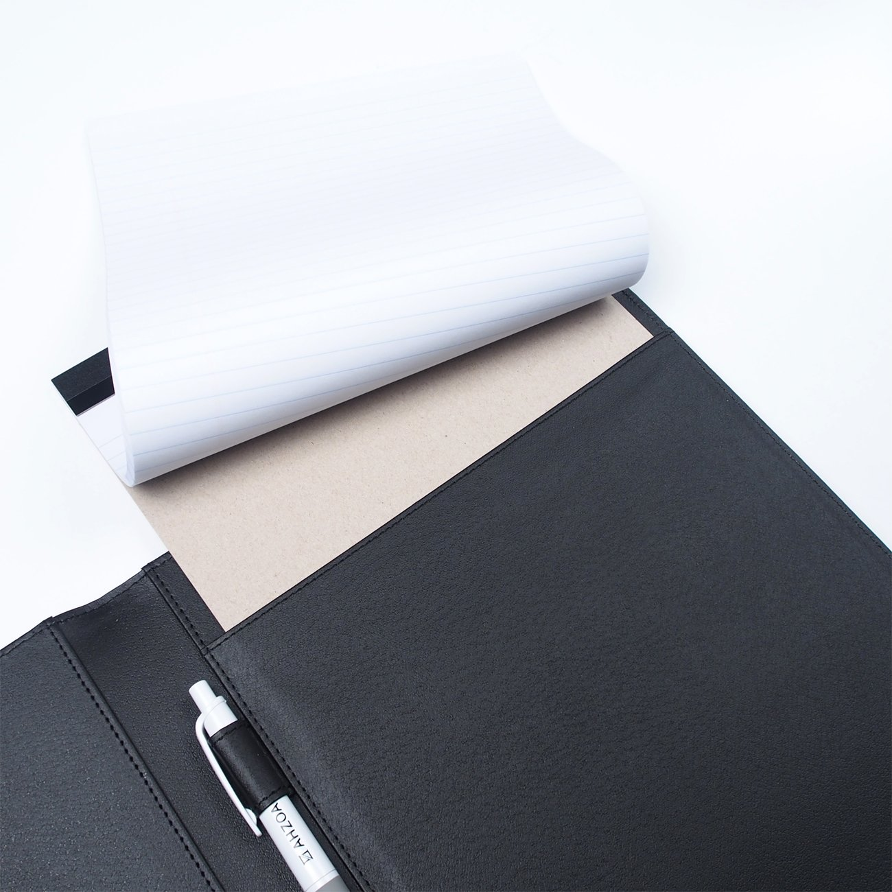 AHZOA 4 Pockets A4 Size Memo Padfolio S3 with Mechanical Pencil, Including 8.27 X 11.7 inch Legal Writing Pad, Synthetic Leather Handmade 9.84 X 12.99 inch Notepad Clipboard (Black) by AHZOA (Image #5)