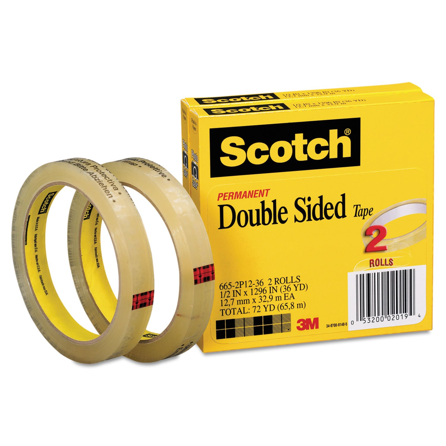 Scotch 6652P1236 665 Double-Sided Tape, 1/2'' x 1296'', 3'' Core, Transparent, 2/Pack by Scotch