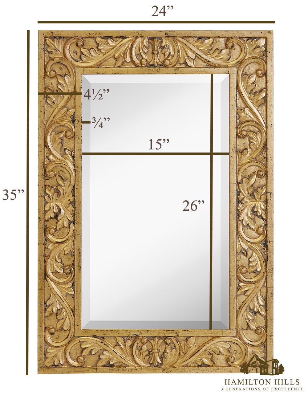 Hamilton Hills Large Gold Antique Inlay Baroque Styled Framed Mirror ...