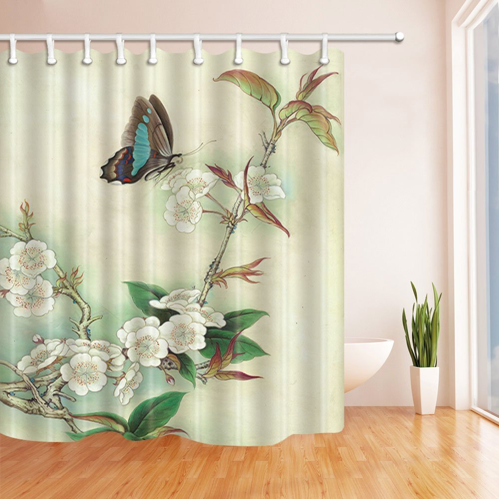 Nyngei Hand Painted Flowers Decor Butterfly On Plum Shower Curtain Mildew Resistant Polyester Fabric Bathroom Decorations Bath Curtains Hooks Included