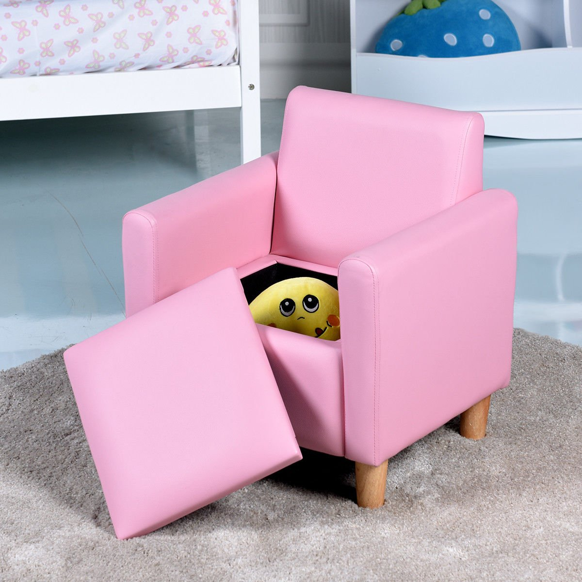 Costzon Kids Sofa, Upholstered Armrest, Sturdy Wood Construction, Toddler Couch With Storage Box (Single Seat, Pink)