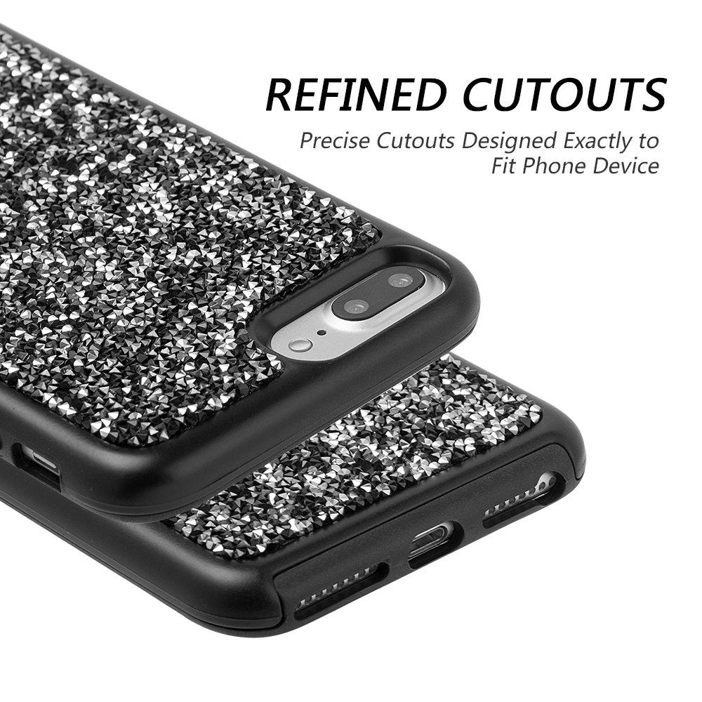 c62fdd5ce02 DreamWireless Funda para iPhone 7 Plus/iPhone 6 Plus/iPhone 8 Plus Carcasa  con Brillos y Doble Protector de Plástico con Diamantes, Color Negro: ...