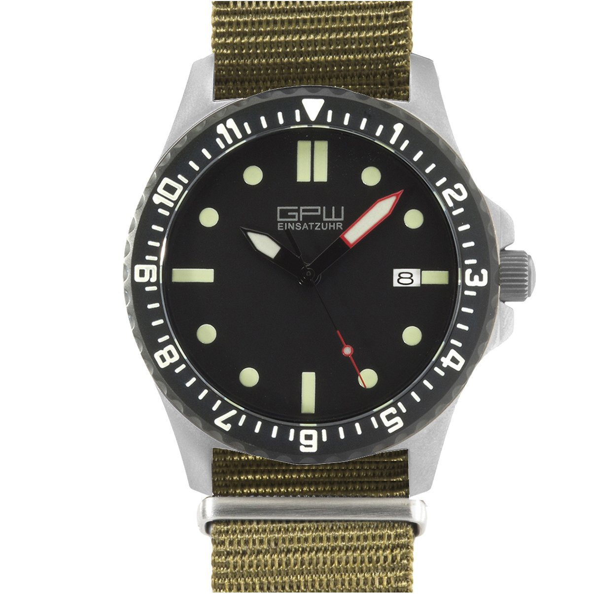 Amazon.com: German Military Titanium Automatic Watch. GPW Date. 200M W/R. Sapphire Crystal. Olive Nylon Strap.: Watches