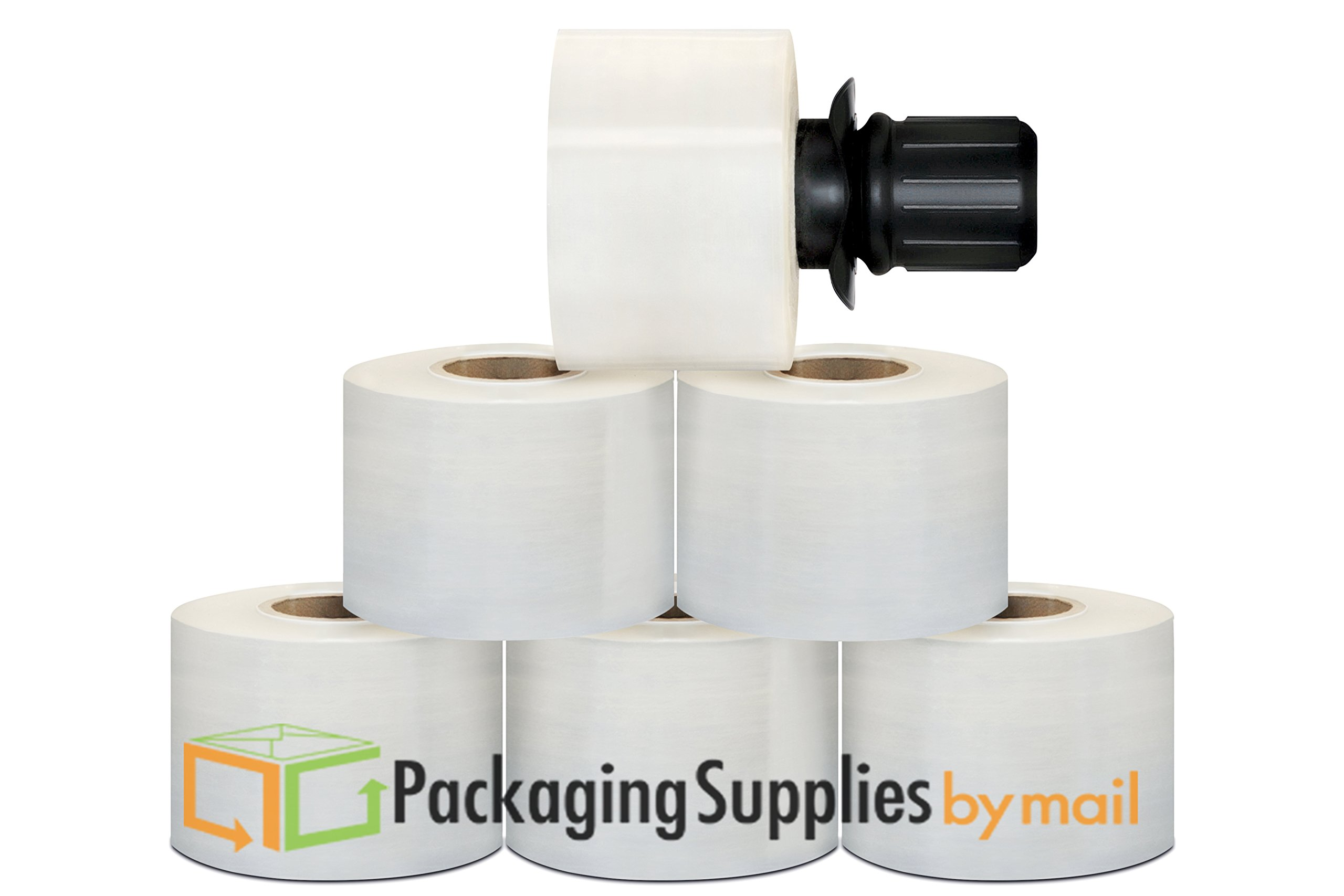 Stretch Hand Wrap with Black Spinning Handle 3 inch X 700 Feet X 120 Gauge 18 Rolls
