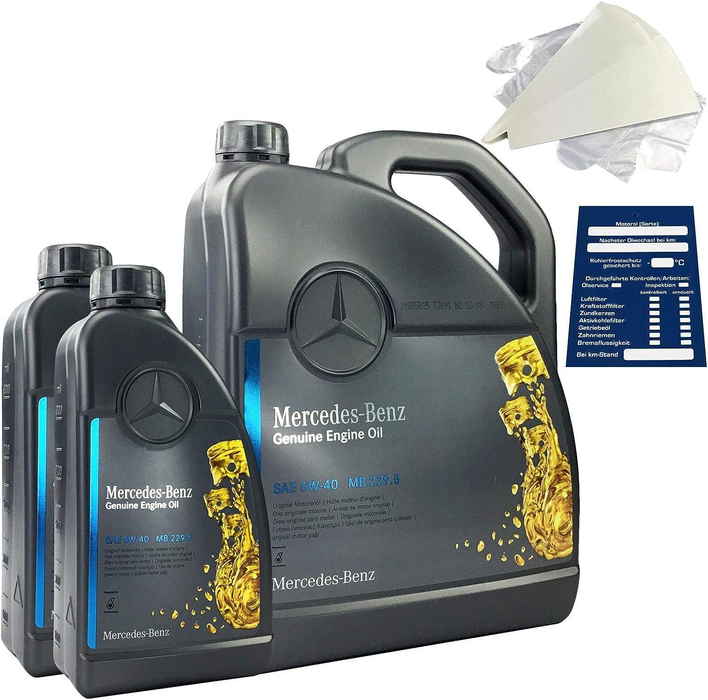 Mercedes-Benz 5W-40 MB 229.5 - Set de aceite de motor original 7 litros: Amazon.es: Coche y moto