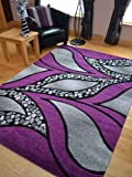 Super Verso Purple Modern Hand Carved Dense Rug. Available in 6 sizes (80cm x 150cm)