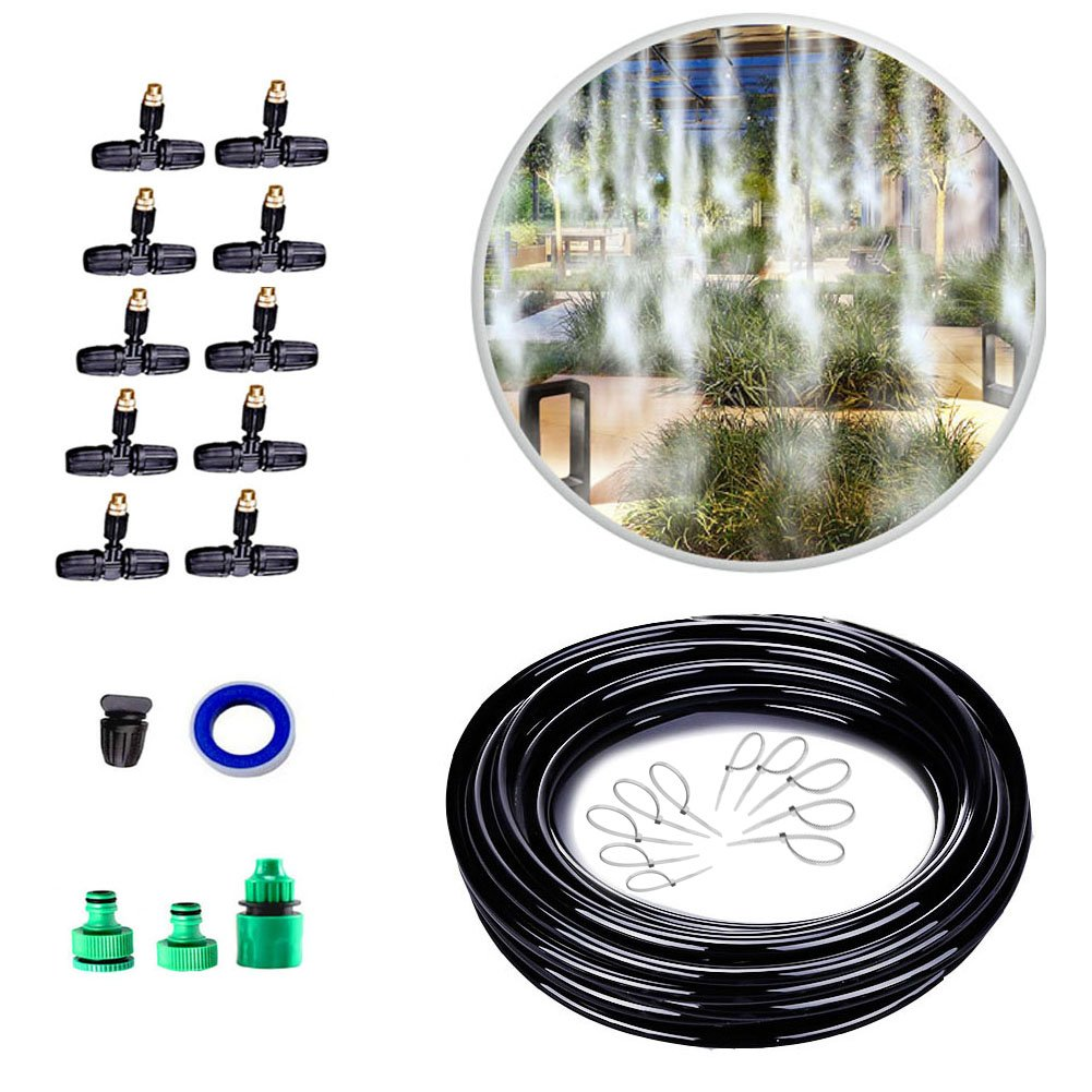 SIPIK Outdoor Garden Patio Misting Cooling System Misting Cooling System with 10pcs Metal Mist Nozzle Sprinkler for Plant Flower