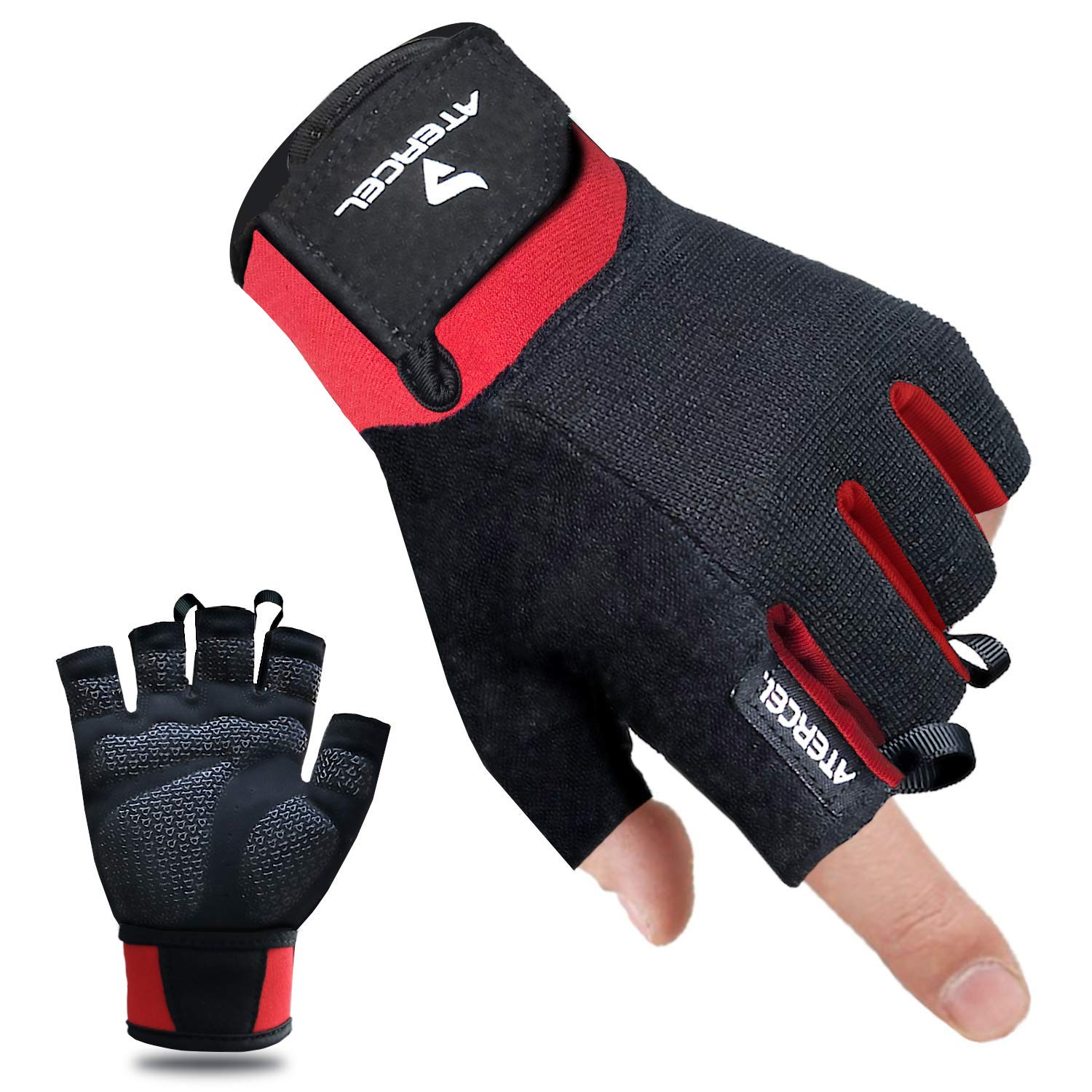 Atercel Workout Gloves, Best Exercise Gloves for Weight Lifting, Crossfit, Cycling, Gym, Training, Breathable & Snug fit, for Men & Women (Red, S (Fits 6.9''-7.5'')) by Atercel