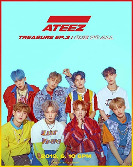 Kq Ateez Treasure Ep 3 One To All Illusion Wave Ver Set 2cd 2photobooks 6photocards 16postcards On Pack Posters Stickers Double Side Extra