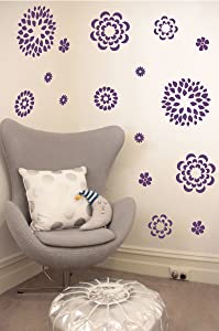 The Decal Guru Flower Pattern Wall Decal with Removable DIY Vinyl Sticker Girls Room Art Home Decor Graphic Transfer, 19