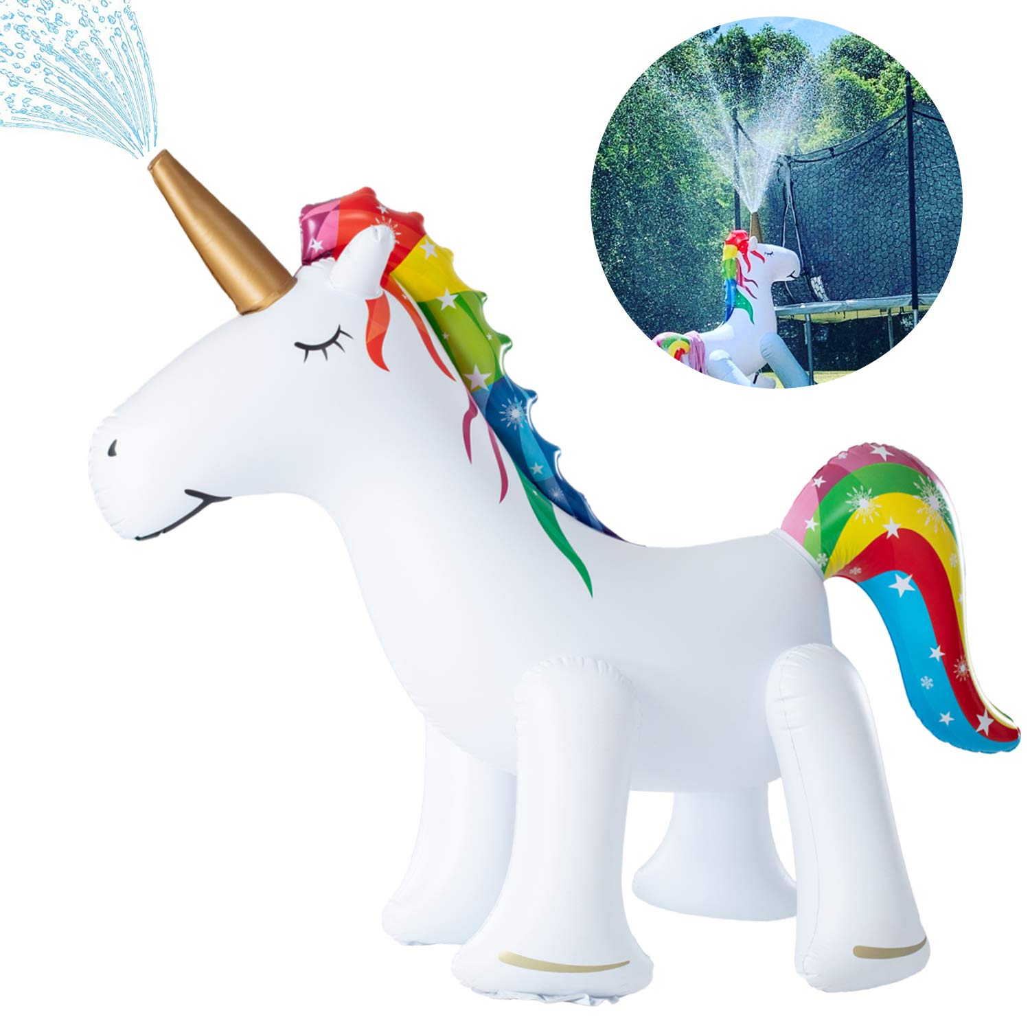 XGEAR Large Inflatable Unicorn Yard Sprinklers, Outdoor Sprinkle and Splash Play,Lawn Sprinkler, Summer Inflatable Water Spray Toy ,Fun Play Games for Kid Child Adult by XGEAR