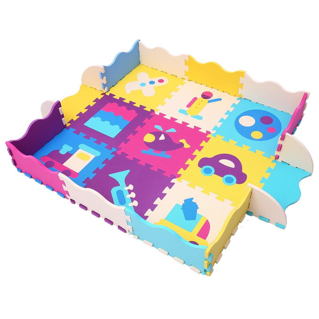 MQIAOHAM 16pcs + 16 Bordes Que entrelazan los niños Suaves del bebé EVA Foam Activity Play Mat Floor Azulejos de café Beige 106110Z16 FUJIAN JIASHENG SPORTING GOODS COMPANY