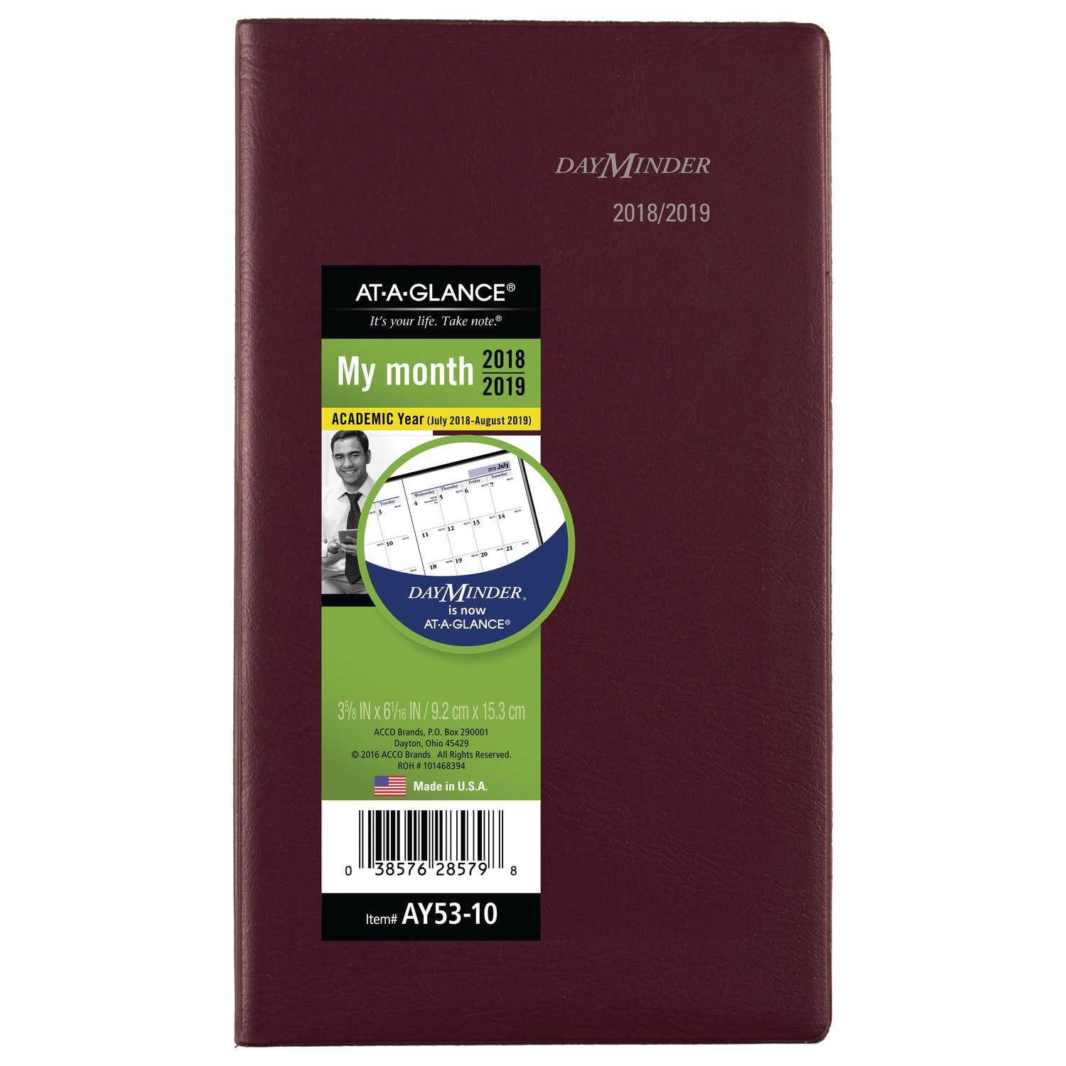 AT-A-GLANCE 2018-2019 Academic Year Monthly Planner, Pocket, 3-5/8 x 6-1/16, DayMinder, Burgundy (AY5314) ACCO Brands AY531419