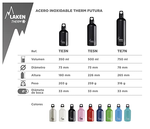 Amazon.com: Laken Thermo Futura Botella de agua de acero ...