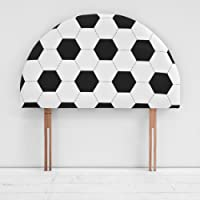 Children's Black White Football Single Bed Divan Arch Headboard
