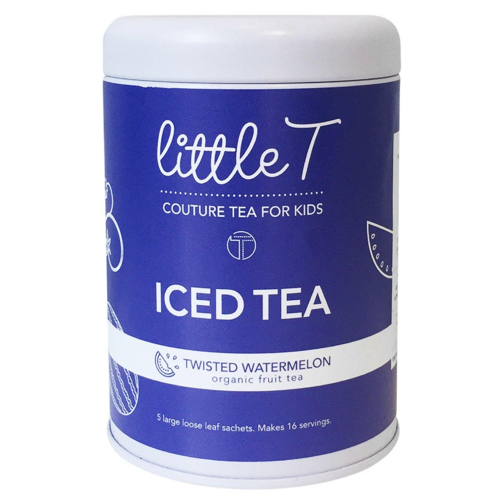 LITTLE T Twisted Watermelon Organic Fruit Iced Tea for Kids. Sugar-free, Caffeine-free, Antioxidant-rich Herbal Iced Tea Sachets (Iced Tea Tin [makes 16 servings])