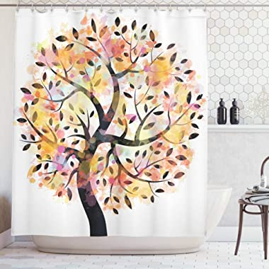 Ambesonne Tree Shower Curtain, Colorful Spring Season Tree Leaves of Life Abstract Painting Pastoral Style Design, Cloth Fabric Bathroom Decor Set with Hooks, 70  Long, Black Orange