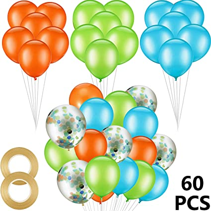 Amazon.com: 60 globos de látex de 12 pulgadas de color ...