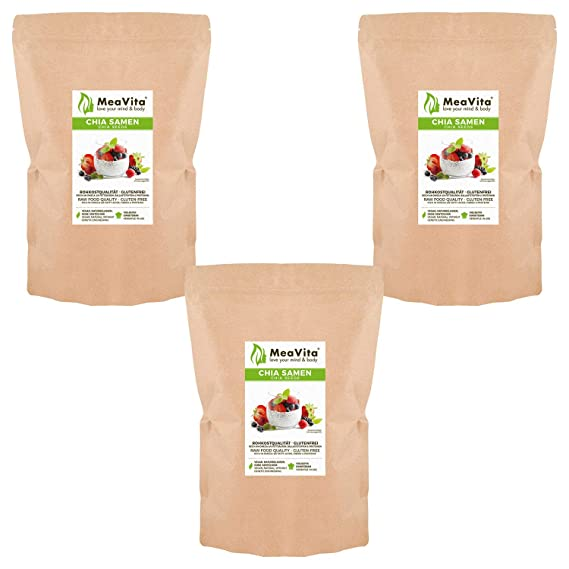 Las semillas de chía, MeaVita premium paquete 3er (3 x 1000 g ...