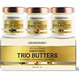 Triple Butters Gift Set - Shea Butter Cocoa Butter and Mango Butter Unrefined 100% Pure & Natural (3 jars x 8 oz ) by Pure Body Naturals