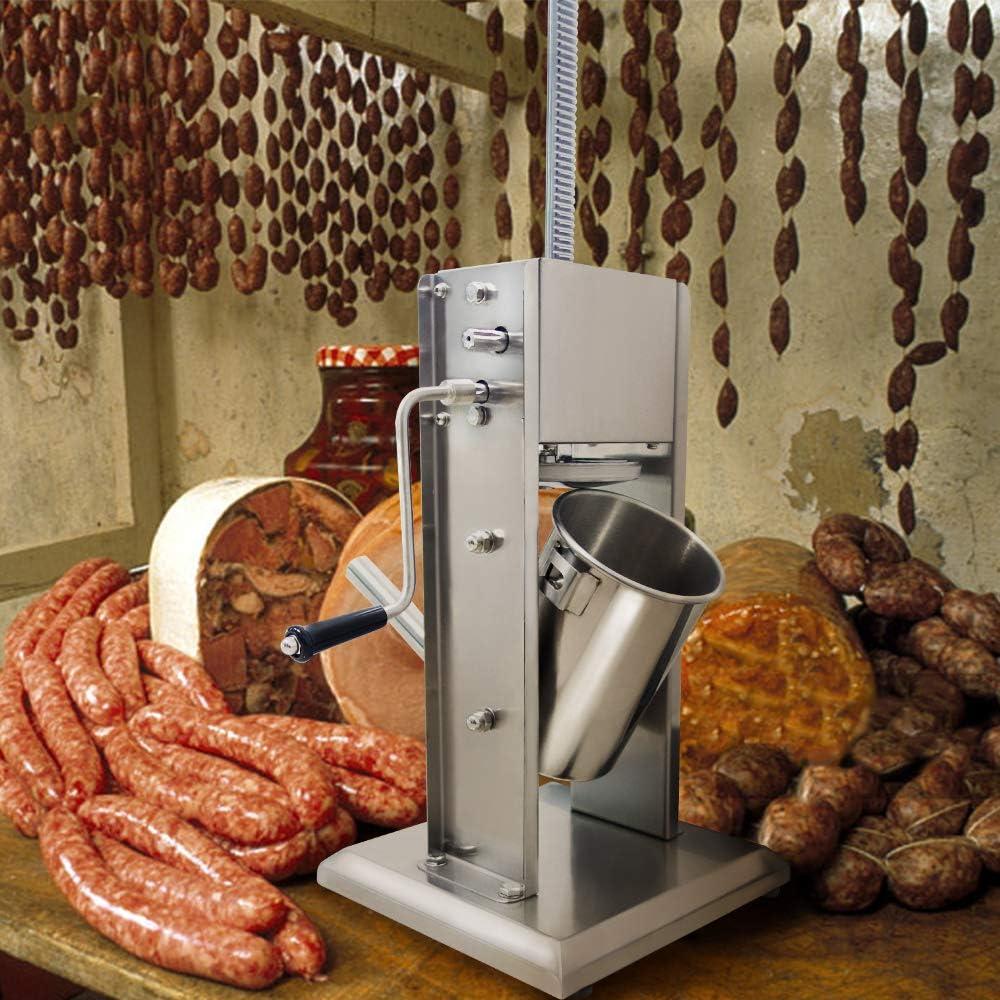 3 Liter HENGMEI Edelstahl Wurstf/üllmaschine Wurstf/üller manuell Wurstpresse Wurstmaschine mit 4 F/üllt/ülle
