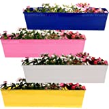 Trust Basket Set Of 4 -Rectangular Railing Planter-Blue, Magenta, White, Yellow (23 Inch)