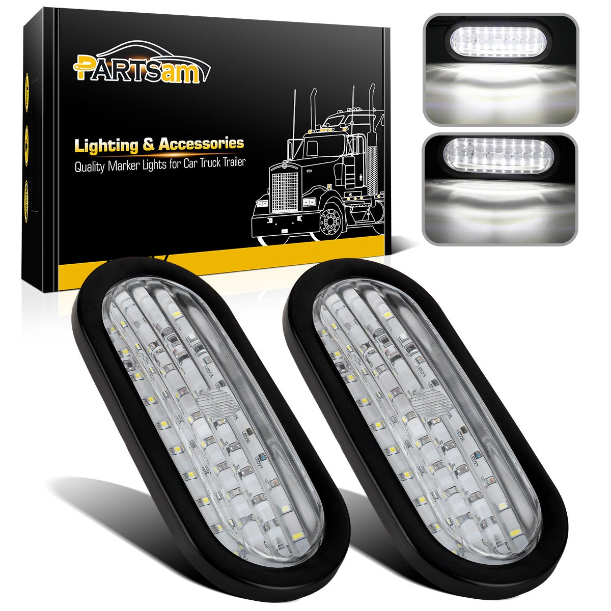 Partsam 2x Waterproof 6 Oval White Stop Turn Tail Also Led Trailer Lights Along With Wiring Reverse 30 W Flush Mount Clear Inch Backup Truck Utility